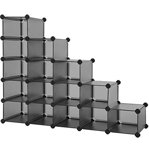 SONGMICS Shoe Rack Space-Saving 15-Slot Plastic Shoe Storage Organizer Unit Modular Cabinet Ideal for Entryway Hallway Closet Garage 445 x 142 x 346 Inches Gray ULPC445G01