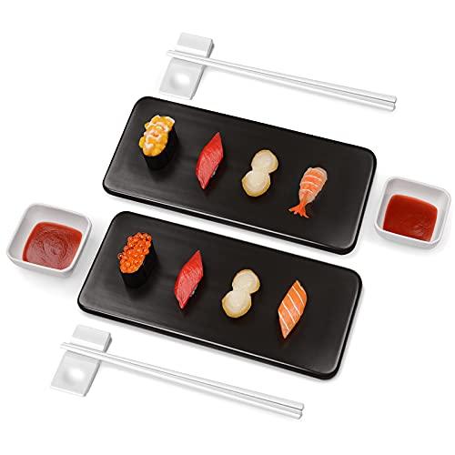 Set per Sushi per 2 Persone, SKYSER Set 8 Pezzi Piatti da Sushi in Porcellana Multiuso Set Piatti Sushi con Bacchette di Ceramica Servizio Sushi Piatti Rettangolari per Sushi, Pizza, Bistecca, Pasta
