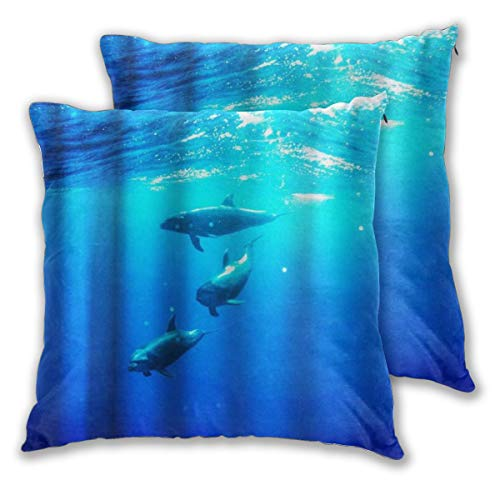 WINCAN Square Cushion Cover 50x50cm 2 pieces Set,Ocean Dolphins Theme Marine Sea Animals,decorative Throw Pillow Case for Couch Sofa Chair Bed Home office Decor