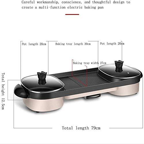 41pY0Ja9hJL - CJTMY Multifunktions-Elektro Hot Pot, Aluminiumlegierung Haushalt Smokeless Antihaft-Grillfach