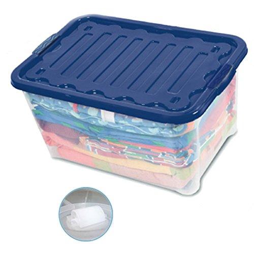 House&Style Volcan Box Storage Pouf-fauteuil, Plastique, Bleu, 60 x 40 x 30 cm, 1 Unité
