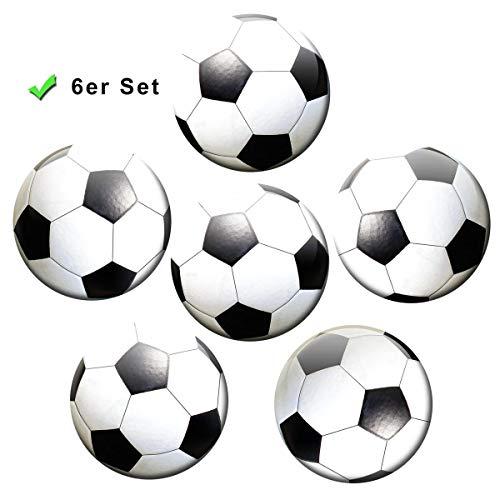 Kühlschrankmagnete Fußball 6er Geschenk Set Magnete für Magnettafel Kinder stark groß Ø 50 mm Schwarz Weiß