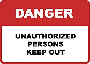 Danger Keep Out Sign - Business Door Security Sign - Aluminum Metal - Single