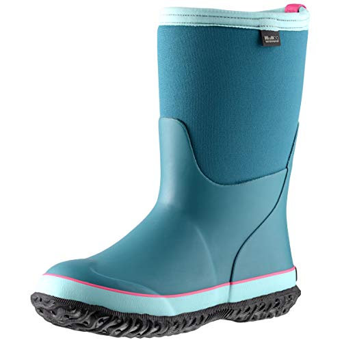 MCIKCC Kids Waterproof Rain Boots,High Snow Boots for Toddler Boys Girls,Textile Rubber Sole,8M Light Lake Blue