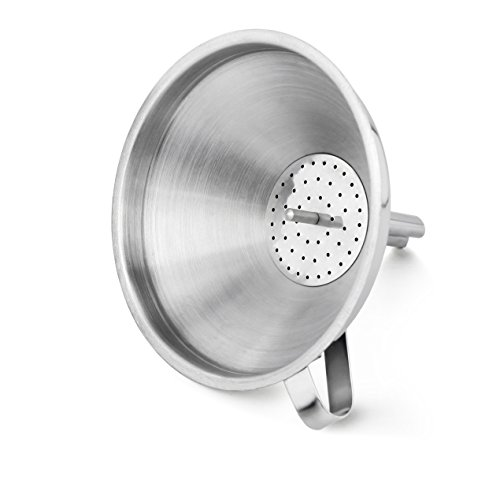 """New Star Foodservice 42641 Stainless Steel Funnel with Detachable Strainer/Filter, 5"""", Silver"""