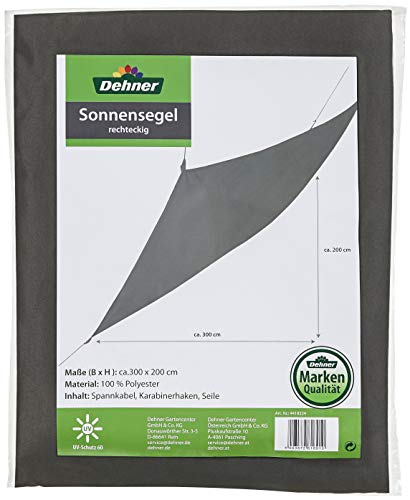 Dehner Sonnensegel rechteckig, ca. 300 x 200 cm, Polyester, dunkelgrau
