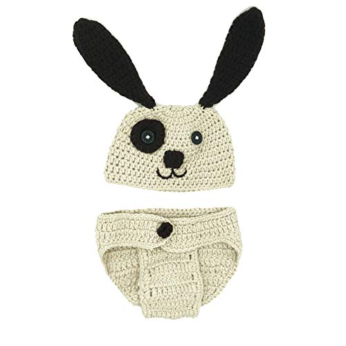 MSFS Baby Crochet Knitted Dog Photo Photography Props Handmade Unisex Baby Hat Diaper Outfit 3-6 Month(Dog)