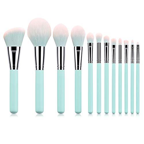 12PCS Pinceaux à maquillage Ensemble Poignée bleu Sac avec poudre Fondation Blending Brosse sourcils soin du visage Outils Pinceau Faire,ordinary