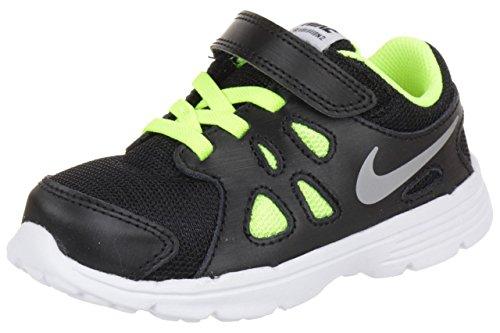 Nike Revolution 2 TDV, Zapatos de Primeros Pasos para Niños, Negro/Plateado/Blanco/Verde (Black/Metallic Silver-Wht-Vlt), 21