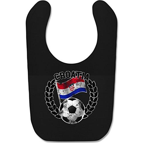 Shirtracer Fußball-Europameisterschaft 2021 - Baby - Croatia Flagge & Fußball Vintage - Unisize - Schwarz - WM - BZ12 - Baby Lätzchen Baumwolle