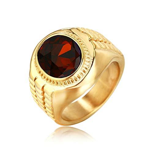 ROMQUEEN Rolex Ring Herren Gold Edelstahl Ring Für Männer Gitter Oval Geschnittene Zirkonia,Mit Fäulnisstein,Ringgrößen 62 (19.7)