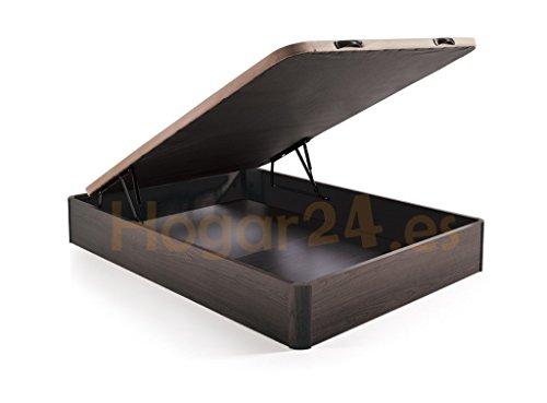 Hogar 24 Canapé Abatible Madera Gran Capacidad con Tapa 3D y Válvulas de Transpiración, con Esquineras en Madera Maciza, Color Wengué, 135X190
