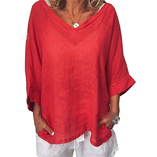 Camiseta Mujer Gran Tamaño Camisa Murciélago Suelta Grande Cuello V Top Mujer Lino Verano Mangas 3/4 Casual Cómodo Ligero Transpirable Mujer Top B-Red 4XL