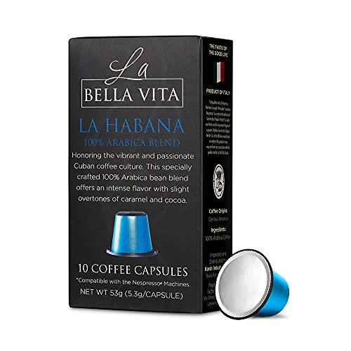 La Bella Vita Coffee Capsules for Nespresso Machines, Gourmet Italian Small Batch Roasted Coffee Capsules (10 Capsules) (La Habana)