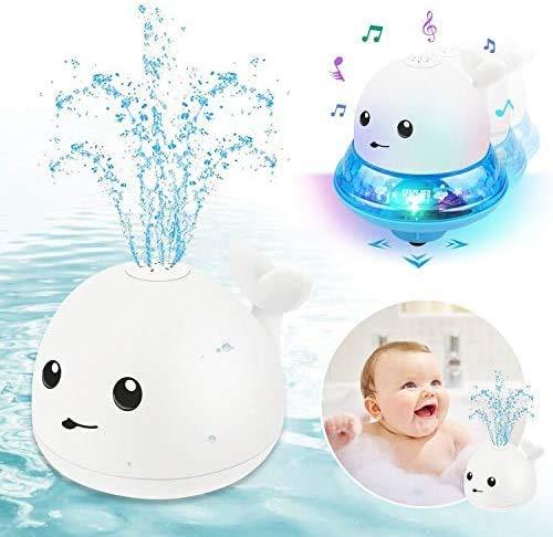 ENJSD Kinder Schwimmende 2 in 1 Badespielzeug Baby Wasserspielzeug Automatische Induktions Sprinkler Wal mit Licht und Musik, Babyspiel Wasserbad Spielzeug für Baby Kleinkinder(Weiß Wal)