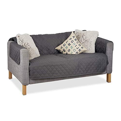 Relaxdays, Grau Sofaschoner 2 Sitzer, schützender Überwurf Sofa und Couch, gegen Tierhaare und Flecken, Schonbezug