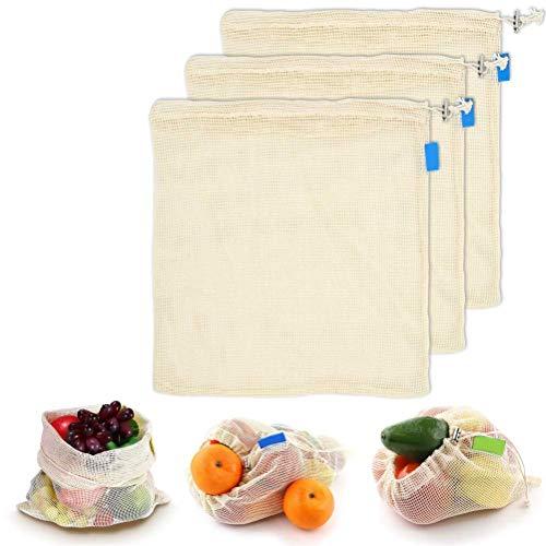 Yiyiter tas produceert netjes koordsluiting, herbruikbare doorzichtige katoenen zak groentententas voor speelgoed beha ondergoed levensmiddelen inkoop, Small, 3 stuks, medium.
