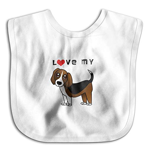 Babero con logotipo de I Love My Beagle, para bebé, niños, niñas, agradable al tacto, color negro