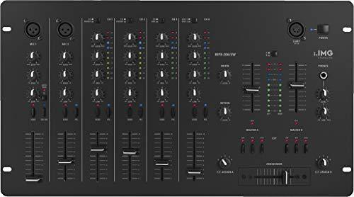 IMG Stageline MPX-206/SW 6-Kanal-Stereo-Mischpult, 1 DJ-Mikrofonkanal, schwarz