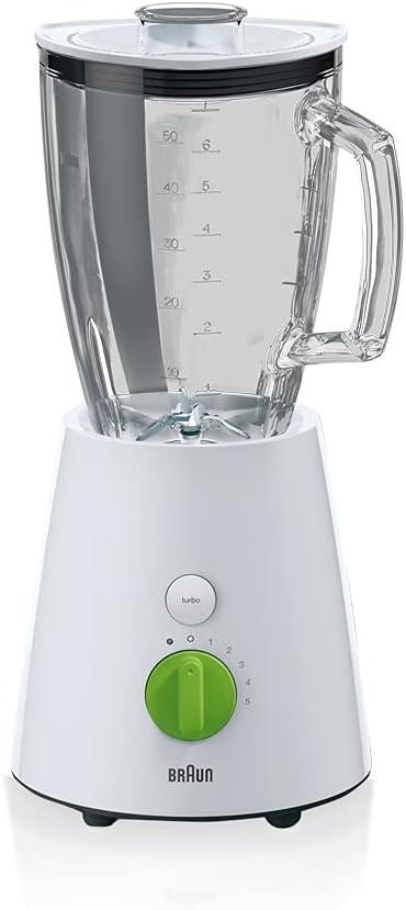 Braun JB 3060 JB3060WH - Batidora de vaso, cristal, 1, 75 l, color negro, 800 w, vidrio, 5 velocidades, blanco
