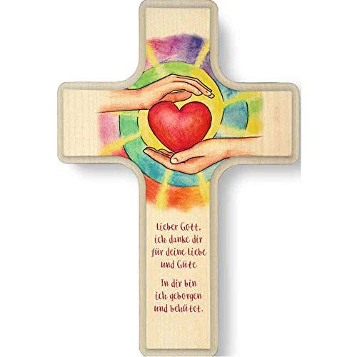 kruzifix24 Kinderkreuz Motiv Strahlendes Herz in Gottes beschützenden HändenText geborgen & behütet Holz Taufkreuz Geburt 16 x 11 cm