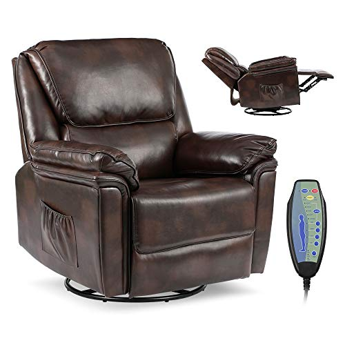 Massage Recliner Chair with Lumbar Heating, Ergonomic Rocker Lounge Chair, Reclining Sofa for Living Room, 360 Degree Swivel, Side Pocket & Remote Control. (Pu Leather - Dark Brown)