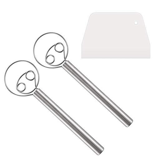 Varogo 2 piezas de batidor de masa danés de acero inoxidable mezclador manual para hornear masa, rascador incluido