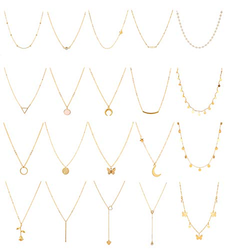 Honsny 20 PCS Gold Layered Necklace Set Silver Choker Necklaces for Women Adjustable Moon Star Butterfly Charms Pendant Necklaces Multilayer DIY Chain Necklaces