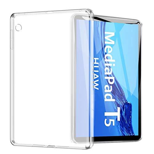 """Yoowei Cover Compatibile con Huawei Mediapad T5 10 10.1"""", Custodia Posteriore Traslucida in TPU Flessibile Silicone Ultra Sottile e Leggera Caso"""