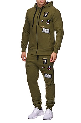 Violento Herren Jogging-Anzug | USA-Patches 685 (S-Slim, Khaki)