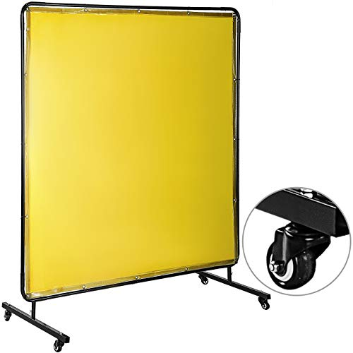 Mophorn Welding Screen with Frame 6' x 6', Welding Curtain with 4 Wheels, Welding Protection Screen Yellow Flame-Resistant Vinyl, Portable Light-Proof Professional