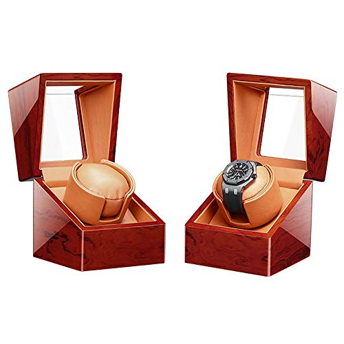 Caja Giratoria para Relojes con Almohadas de Reloj Blandas y Flexibles, Carcasa de Madera, con Motor japonés, LED Azul Incorporado Caja de Almacenamiento de Reloj (Color : A)