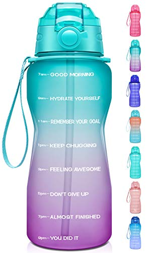 Giotto Large Half Gallon/64oz Motivational Water Bottle with Time Marker & Straw,Leakproof Tritan BPA Free Water Jug,Ensure You Drink Enough Water Daily for Fitness,Gym and Outdoor-Green/Purple Gradient