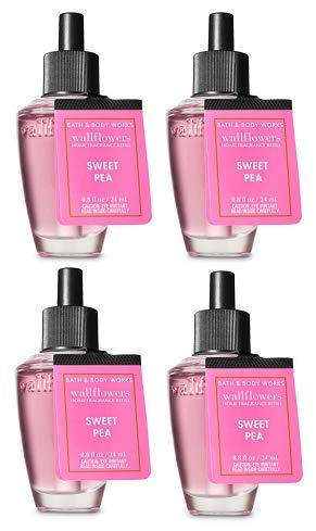 Bath and Body Works 4 Pack Sweet Pea Wallflowers Fragrance Refill. 0.8 fl oz.