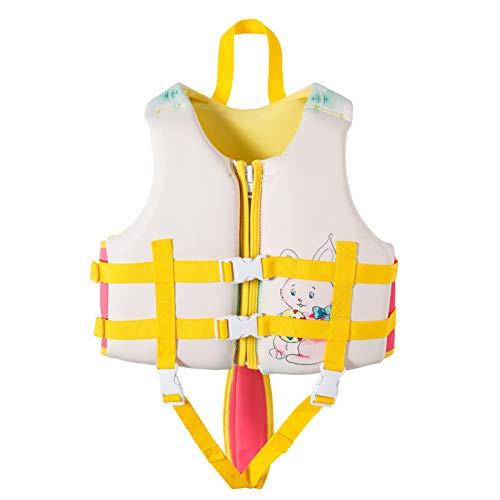 Chaleco De Baño para Niños Chaleco Salvavidas De Neopreno Premium Asistencia De Flotabilidad Certificación De La UE CE para Surfear, Kayak, Natación, Deporte De Agua De Verano,Big Rabbit,M