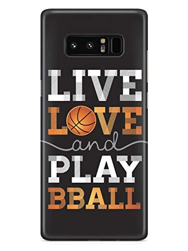 Inspired Cases - 3D Textured Galaxy Note 8 Case - Rubber Bumper Cover - Protective Phone Case for Samsung Galaxy Note 8 - Live Love & Play Basketball