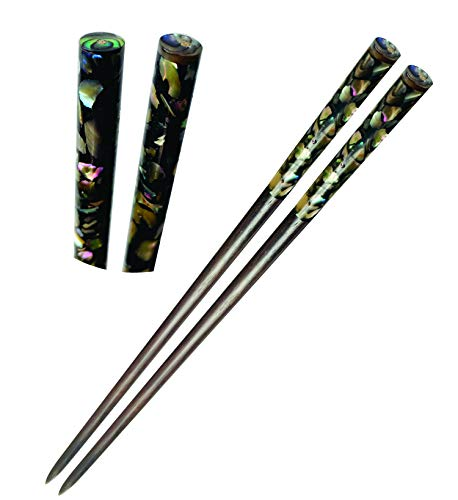 Wooden Hair chopsticks, The Head of Top Inlay Real Mother of Pearl an Abalone Shell, Unique Decorative Hair Sticks, Vintage Hair Chopsticks for Women, Natural Wood Color Black and Gray (Style 3)