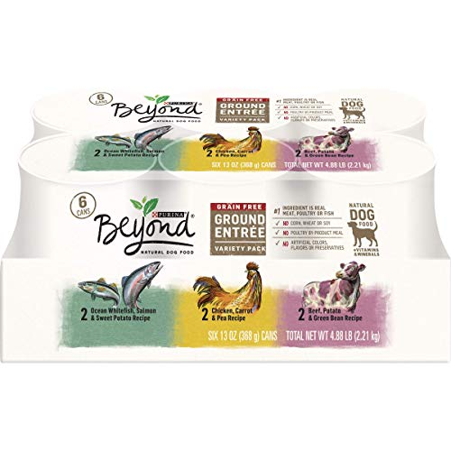 Purina Beyond Grain Free, Natural Pate Wet Dog Food Variety Pack, Grain Free Ground Entree - (2 Pack of 6) 13 oz. Cans