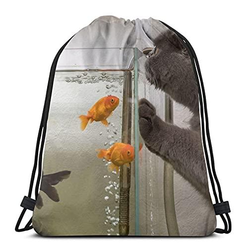 Mochila unisex con cordón para gato, gato, pescado, acuario, bolsa de cincha de poliéster, impermeable, mochila informal para mujer