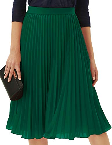 GRACE KARIN Women's Chiffon Skirts A-line Pleated Swing Midi Skirt Dark Green M