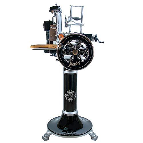 Berkel Volano B3 schwarz | Aufschnittmaschine/Allesschneider mit blütenverziertem Schwungrad | + Berkel Stand-Fuß + handgefertigtes Fassholzbrett | VK: 7548,- €