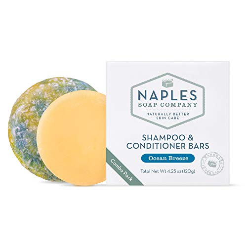 Naples Soap Company Handmade Shampoo Bar + Hair Conditioner Bar Boxed Set, Eco-Friendly Haircare for...