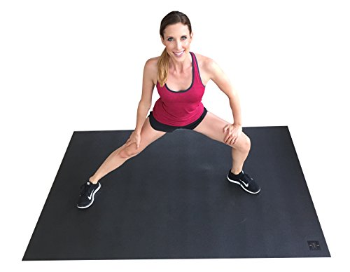Square36 Biarritz Large Exercise Mat 6 Ft x 4 Ft. Ideal for Home Cardio Workouts with Or Without Shoes. Roll Out in Living Room & Roll Up to Store Large Fitness Mat. Black
