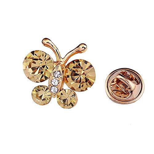 YONGHUI 2 STKS Kleine Leuke Crystal Butterfly Lapel Pin Broches voor Vrouwen Dames Meisjes Blouse Jurk Sjaal Sjaal Tas Insect Broche Pins Accessoires Sieraden Champagne Kleur
