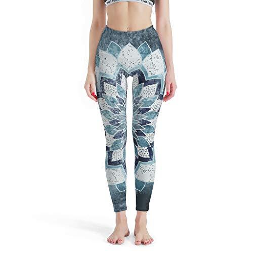 XHJQ88 -Dromerige Soepele Broek Vrouwen, Pilates Kleding MANDALA in Blauw Gedessineerd Zomer Capri Panty Leggings voor Vrouwen Sport Gym Cropped