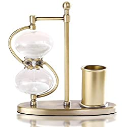 30 Minute Hourglass Sand Timer, Antique Sand Clock with Pen Holder, 360° Rotating Brass Sand Watch 30 Min, Unique Metal Hour Glass Sandglass Timer with White Sand for Home, Desk, Office Decor