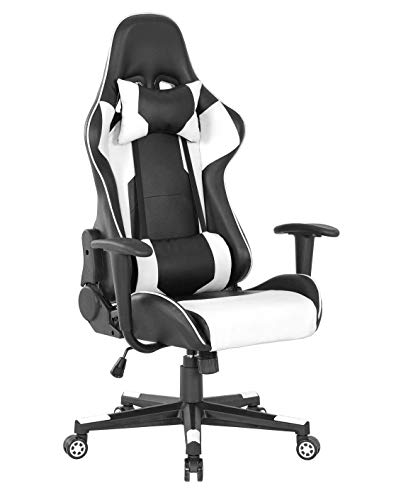 Silla ergonómica para videojuegos de piel, silla de oficina, estilo carreras, altura ajustable, rec