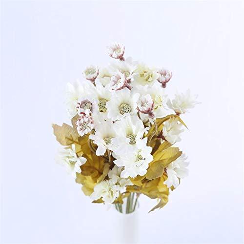 Kunstblumen 35 Köpfe Kleine Seide Künstliche Blumen Sonnenblumen Herbst Dekoration Tisch for Zuhause Herbst Gerbera Gänseblümchen Gelb Gefälschte Blumenstrauß Grünpflanzen ( Color : White flowers )