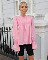The Drop Camisa suelta rosa chicle de cuello cerrado y mangas abullonadas para mujer por @leoniehanne, XS