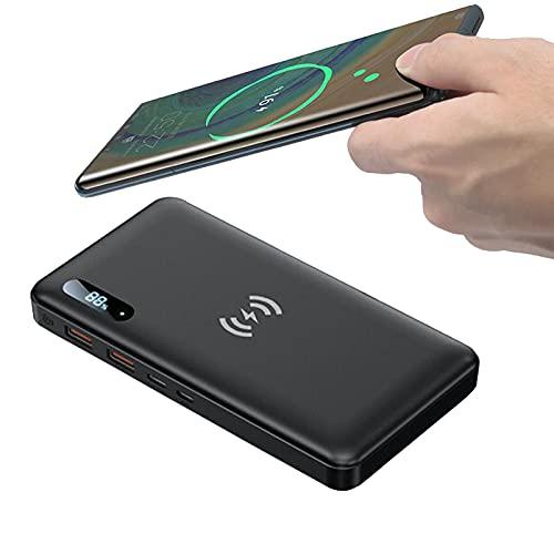 PWQ-01 Wireless Power Bank 50000mAh, 15W Cargador Portátil Rápido Carga Inalámbrica [Carga Simultánea 4 Dispositivos] Batería Externa Pequeña Y Liviana para iPhone Samsung Y Más,Negro